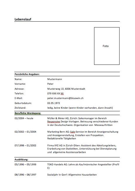 Lebenslauf Muster & Vorlage – Muster-Vorlage.ch