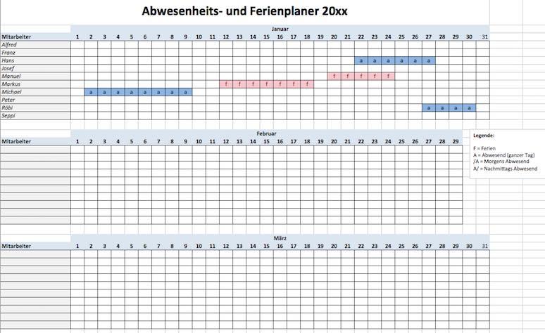 Ferienplaner Excel Vorlage gratis Download – Muster-Vorlage.ch