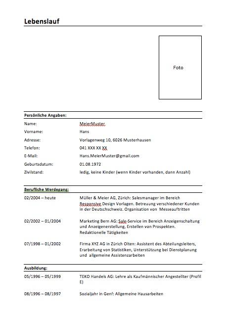 Lebenslauf Schweiz Kostenlose Vorlage Muster Vorlagech