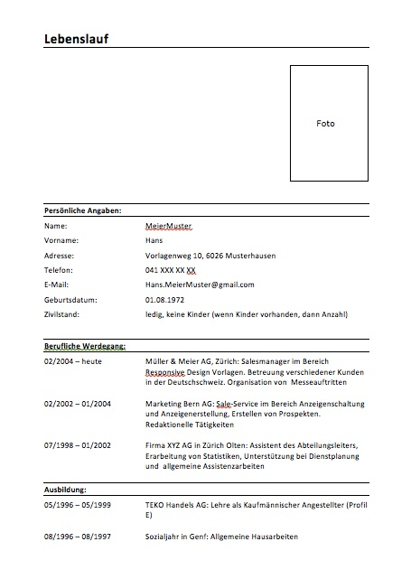 lebenslauf schweiz - Formatvorlage Lebenslauf