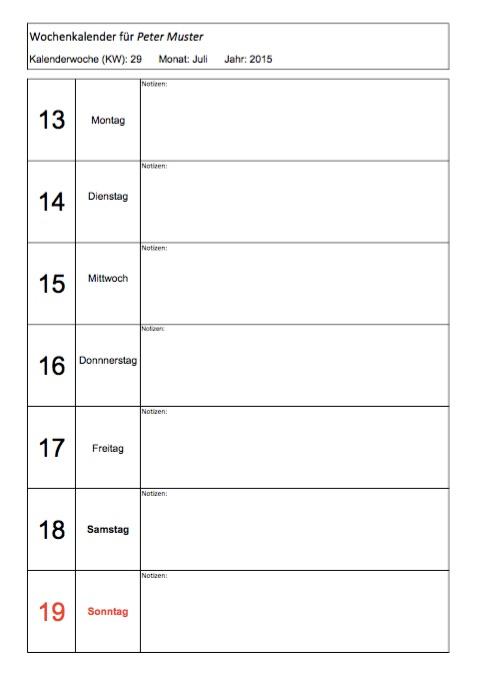 Wochenkalender zum Ausdrucken – Muster-Vorlage.ch