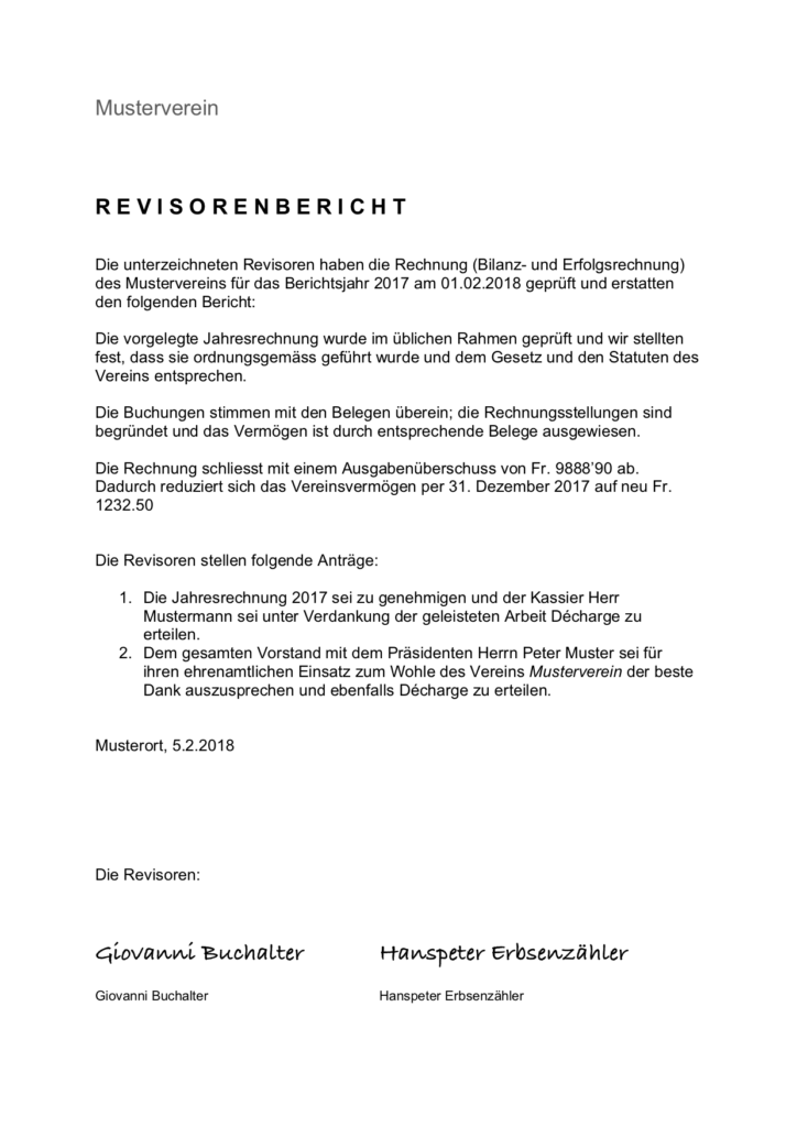 Vorlage Revisorenbericht Verein