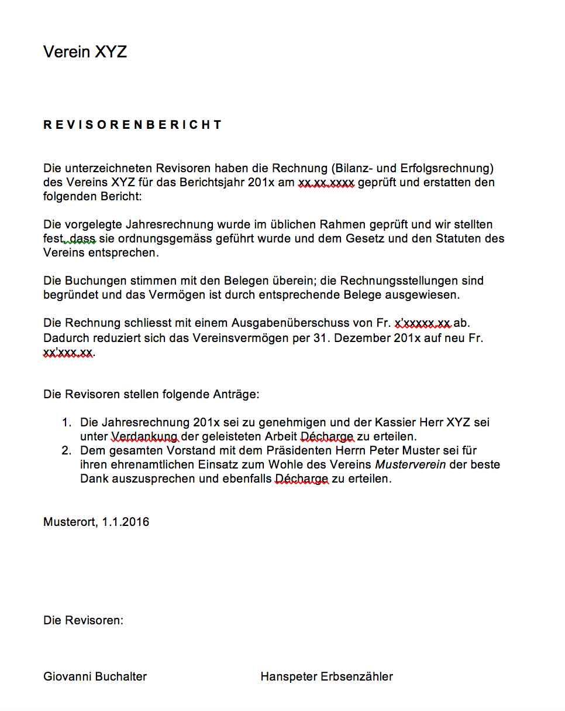 Revisorenbericht Verein Vorlage – Muster-Vorlage.ch