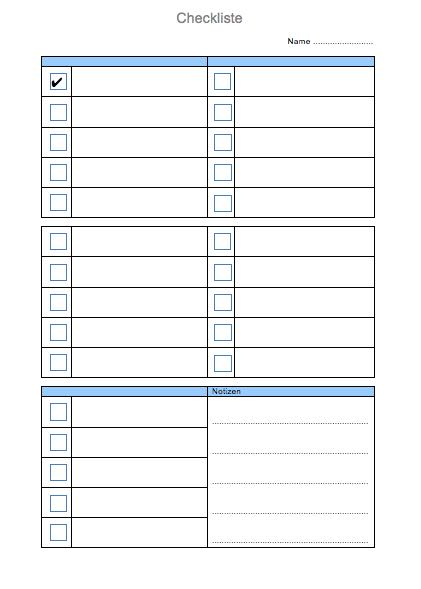 Checkliste vorlage muster im word format muster for Tabelle muster word