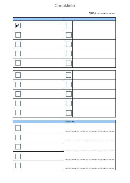 Vorlage Checkliste