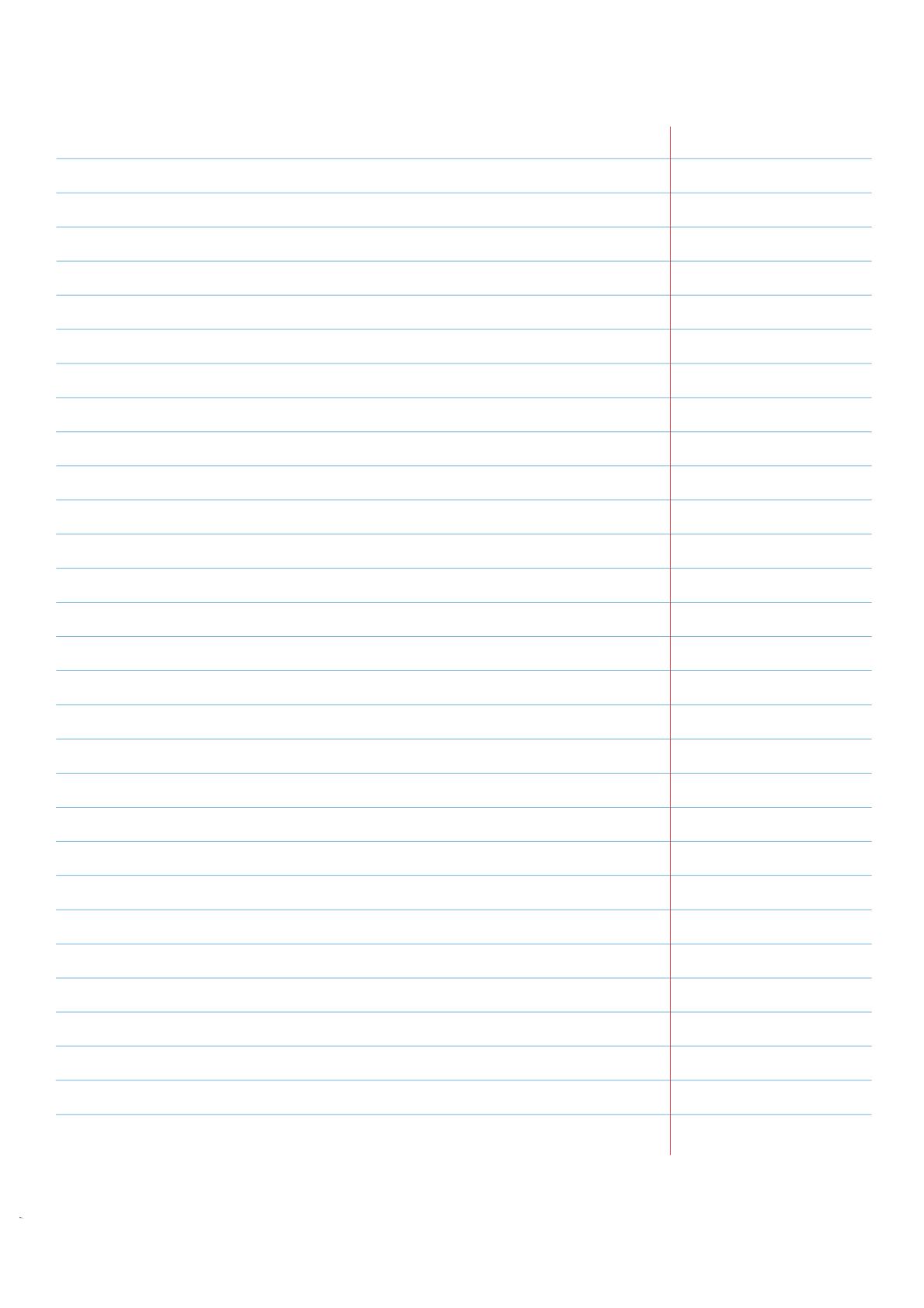 Liniertes Papier mit Korrekturrand