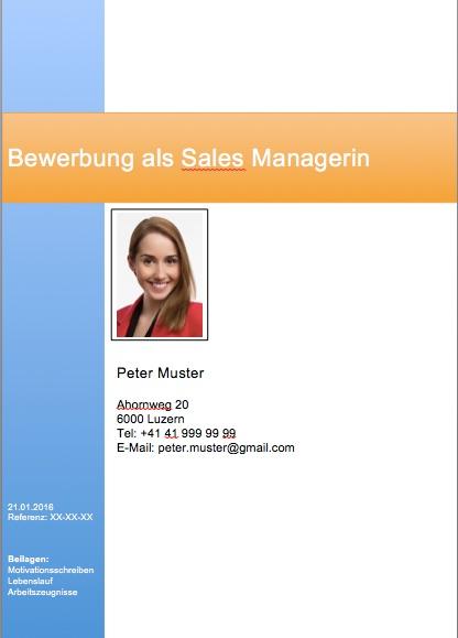 Deckblatt Bewerbung Vorlage Schweiz Muster Vorlagech