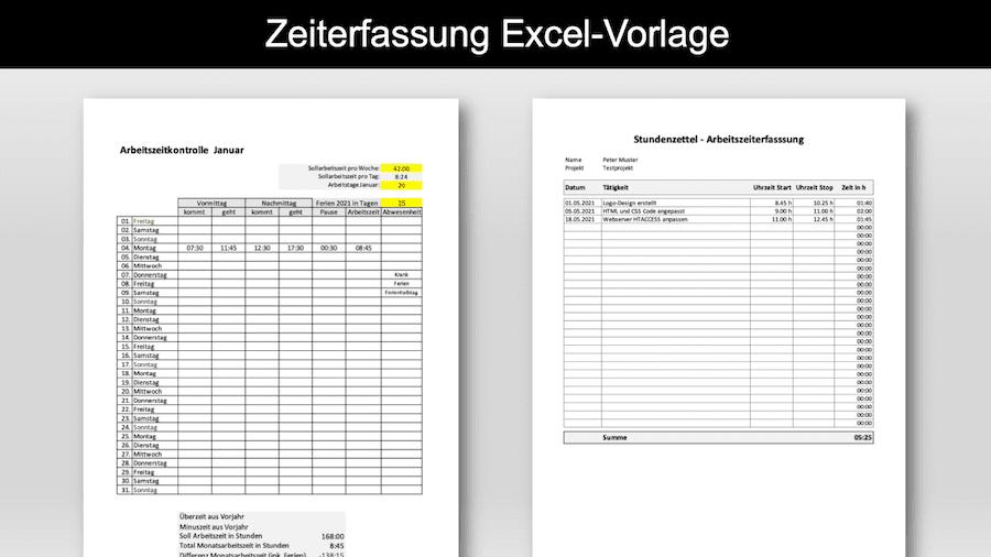 Zeiterfassung Excel Vorlage Header