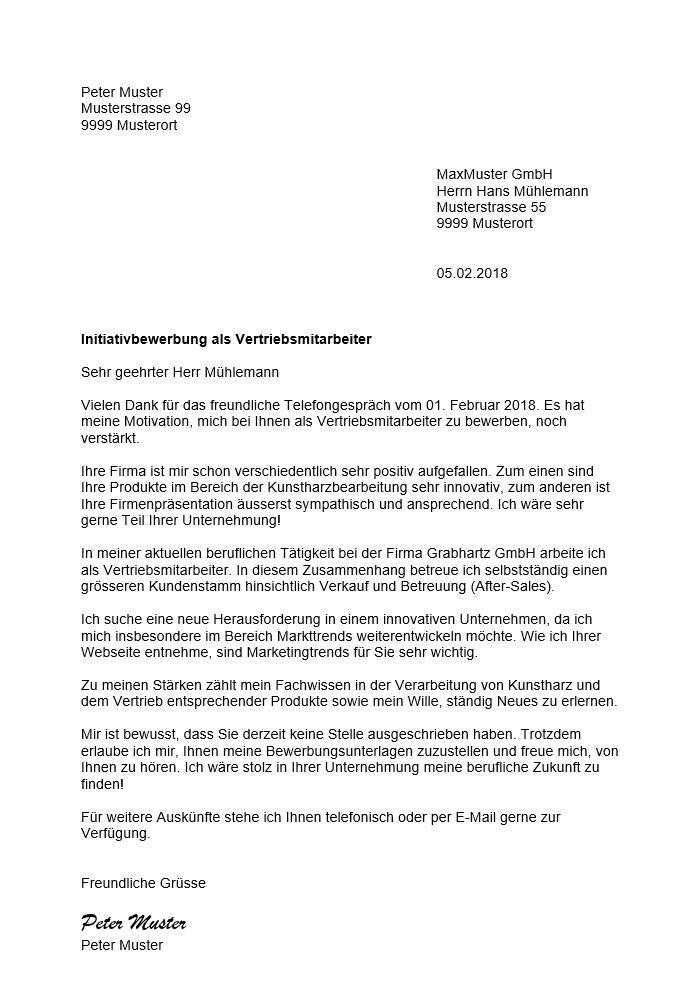 Initiativbewerbung Muster Vorlage Schweiz – Muster-Vorlage.ch