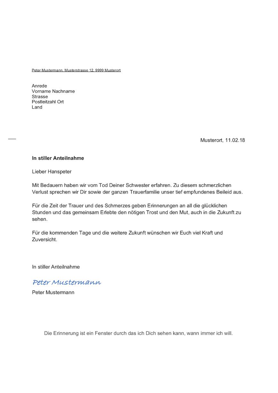 Kondolenzschreiben Beispiel – Muster-Vorlage.ch