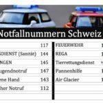 Notfallnummern Schweiz zum Ausdrucken (PDF)
