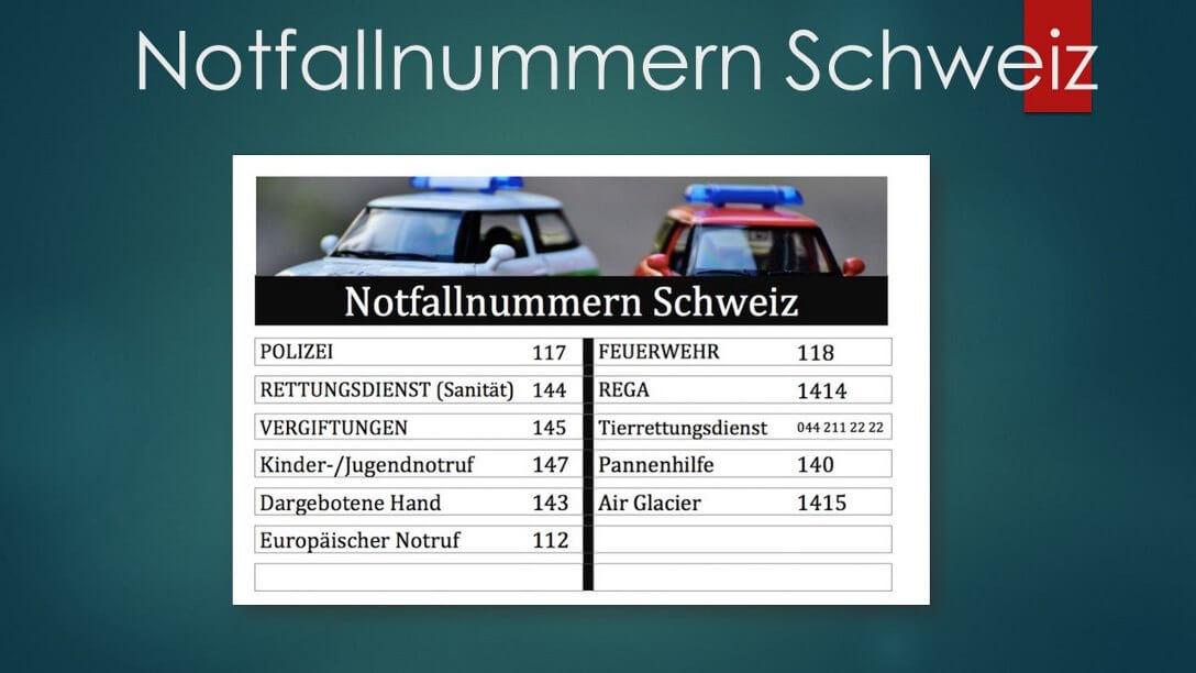 Notfallnummern Schweiz Zum Ausdrucken Pdf Muster Vorlagech