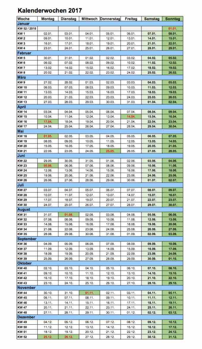 Kalenderwochen 2017 Excel und PDF-Format – Muster-Vorlage.ch