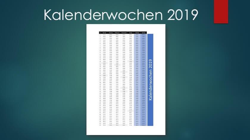 Kalenderwochen 2019 Schweiz Excel