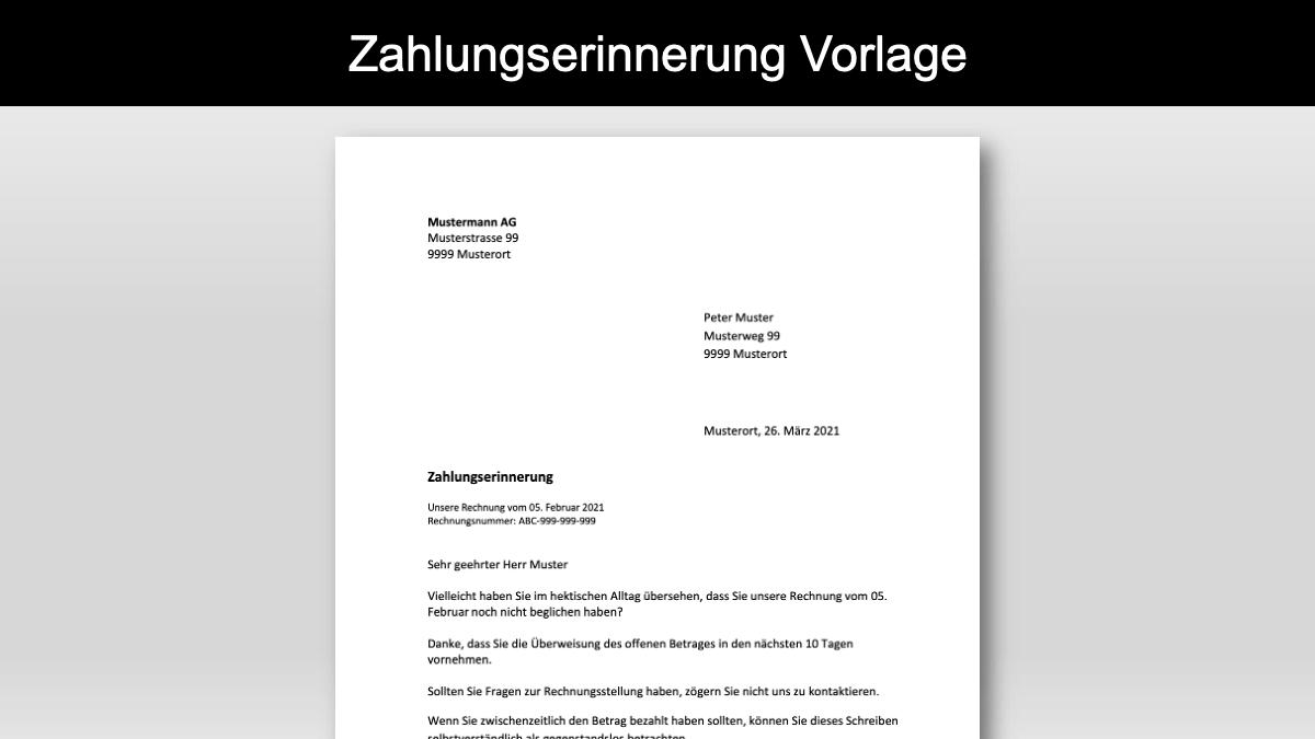 Zahlungserinnerung Vorlage Schweiz Header