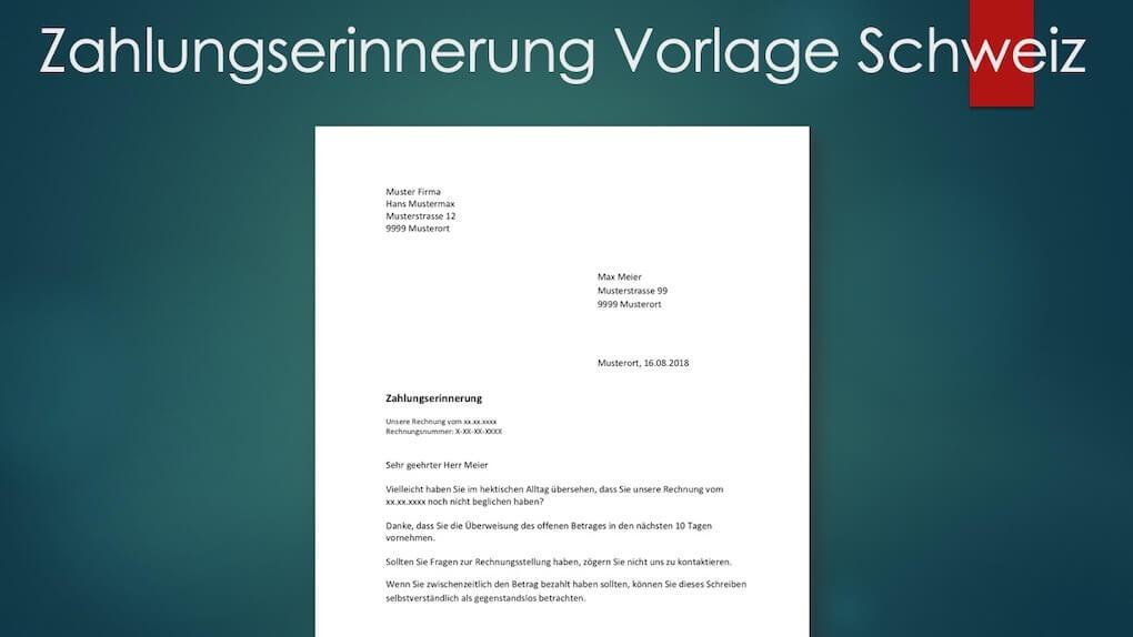 Zahlungserinnerung Vorlage Schweiz Muster Vorlagech