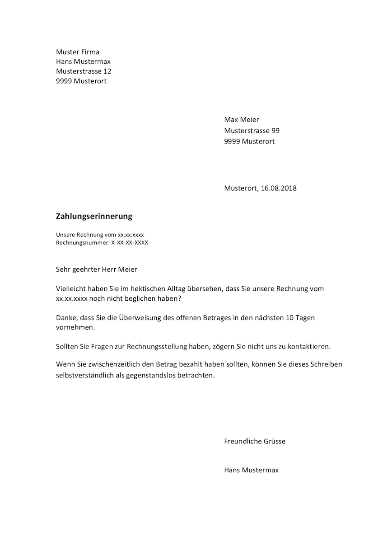 Zahlungserinnerung Vorlage Schweiz Word Muster Vorlagech