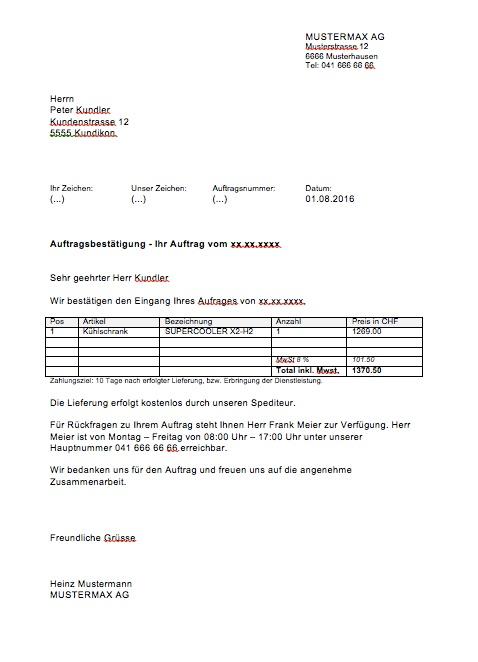 auftragsbesttigung vorlage muster - Auftragsbestatigung Beispiel
