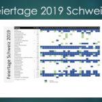 Feiertagskalender 2019 Schweiz