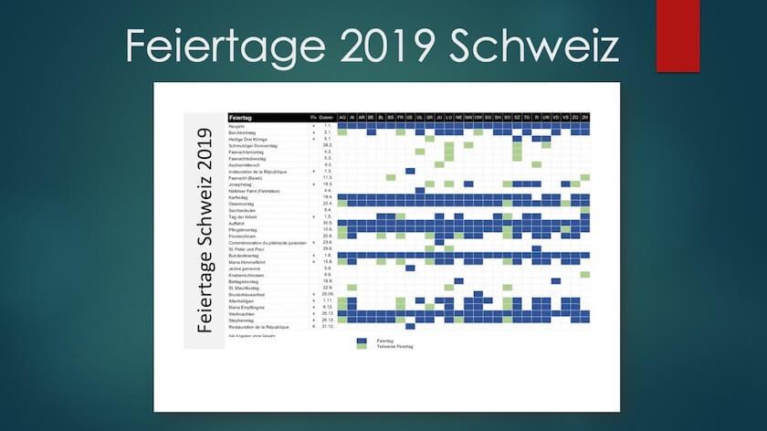 Feiertage Schweiz 2019 Kalender