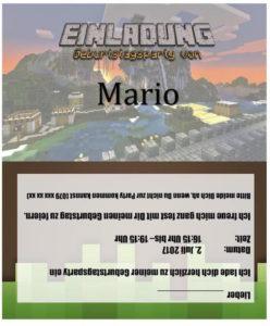 Vorlage Einladung Kindergeburtstag (Minecraft Style)