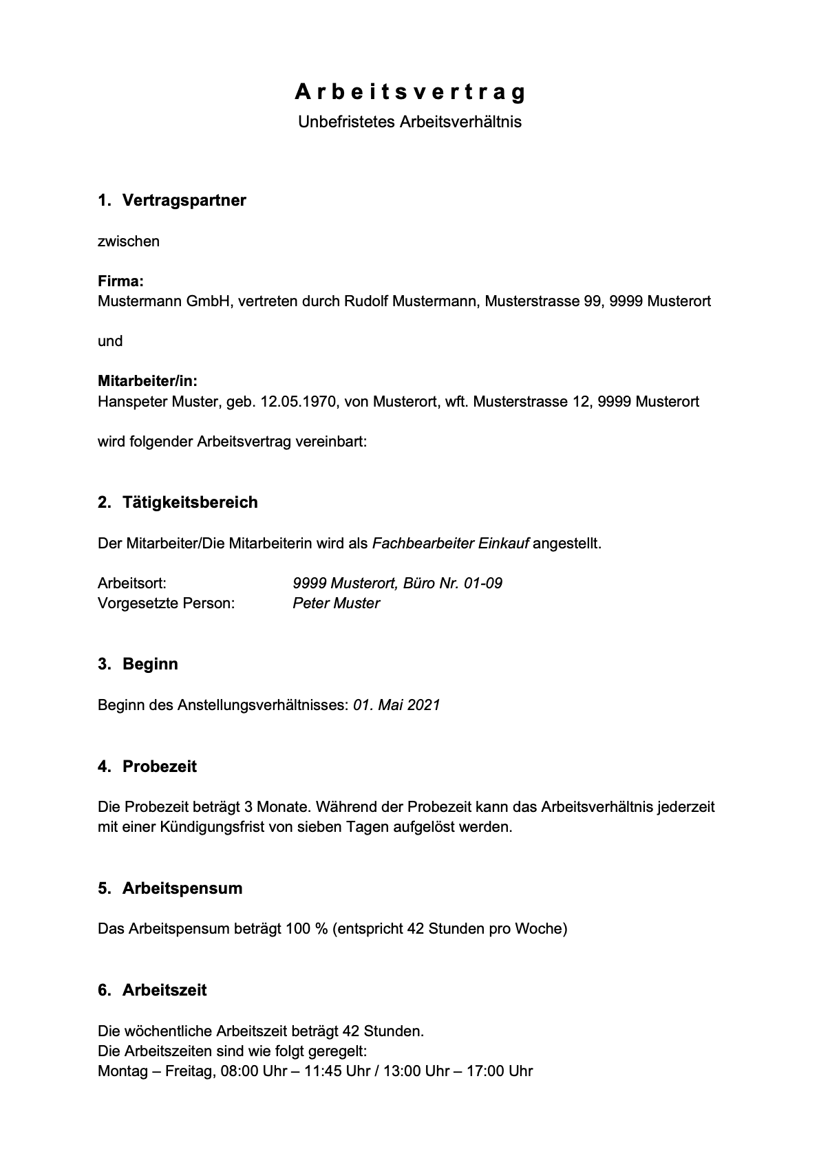 Arbeitsvertrag Vorlage Download Freeware De