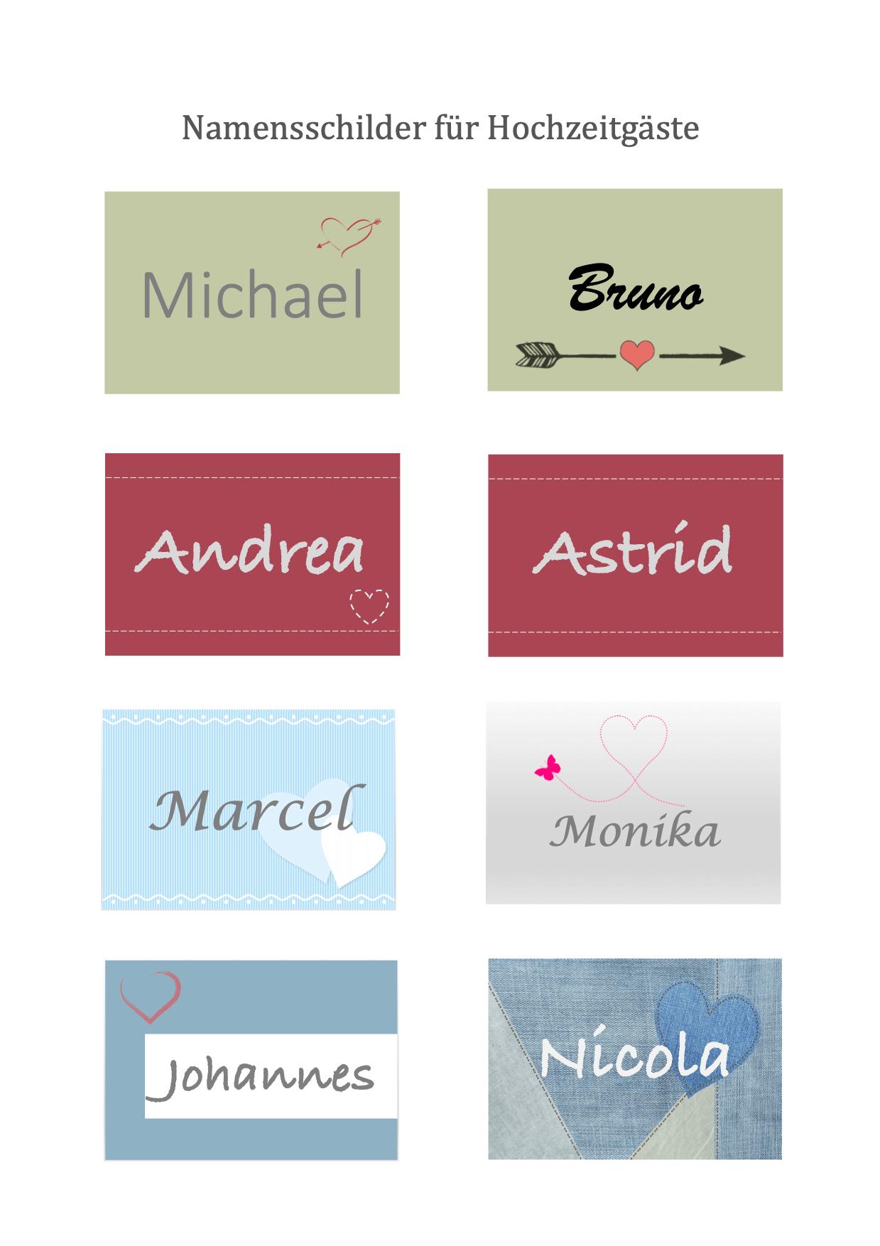 Namensschilder für Hochzeitsgäste zum Ausdrucken