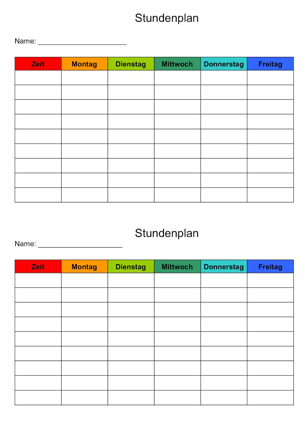 Stundenplan Vorlage Word Hochformat