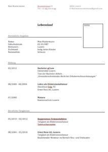 Lebenslauf Muster Vorlagen Schweiz Word Format Muster Vorlagech