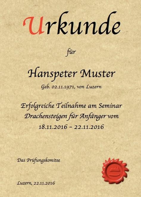 Urkunde Vorlage (Word) zum Ausdrucken – Muster-Vorlage.ch