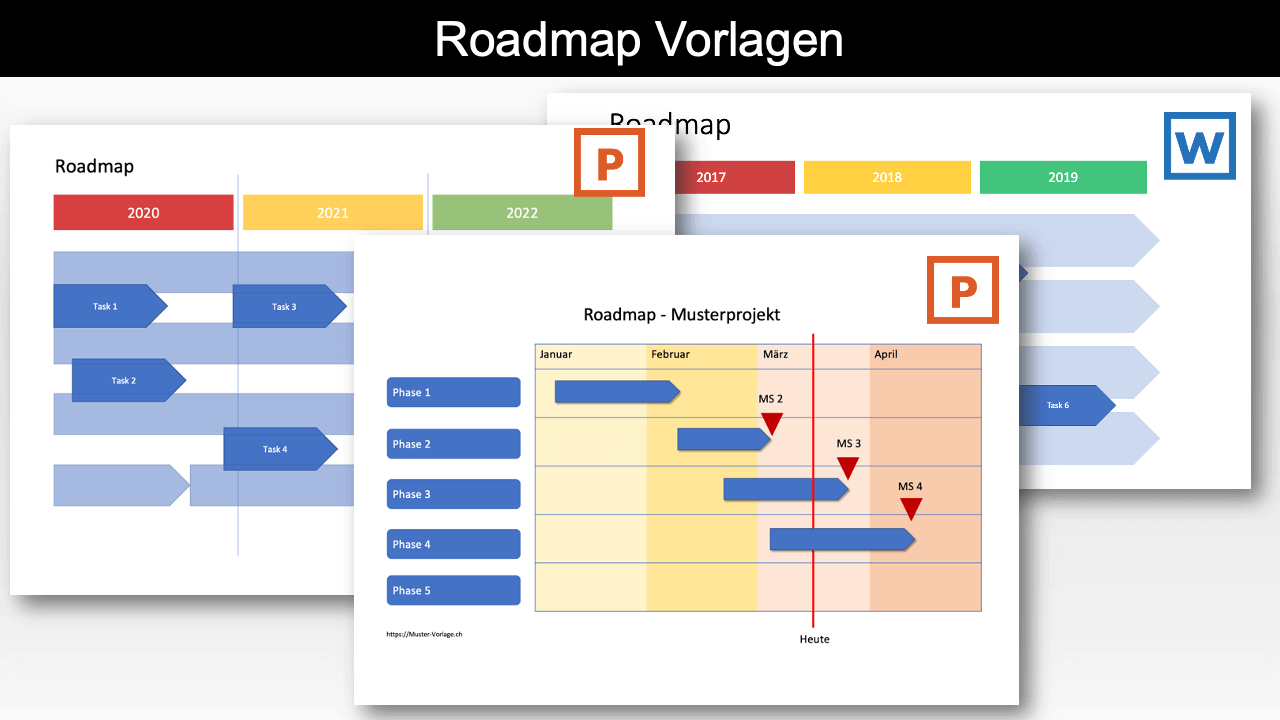Roadmap Vorlage Word & Powerpoint Header
