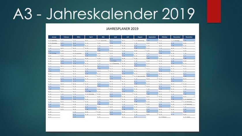 A3 Format - Kalender Schweiz 2019