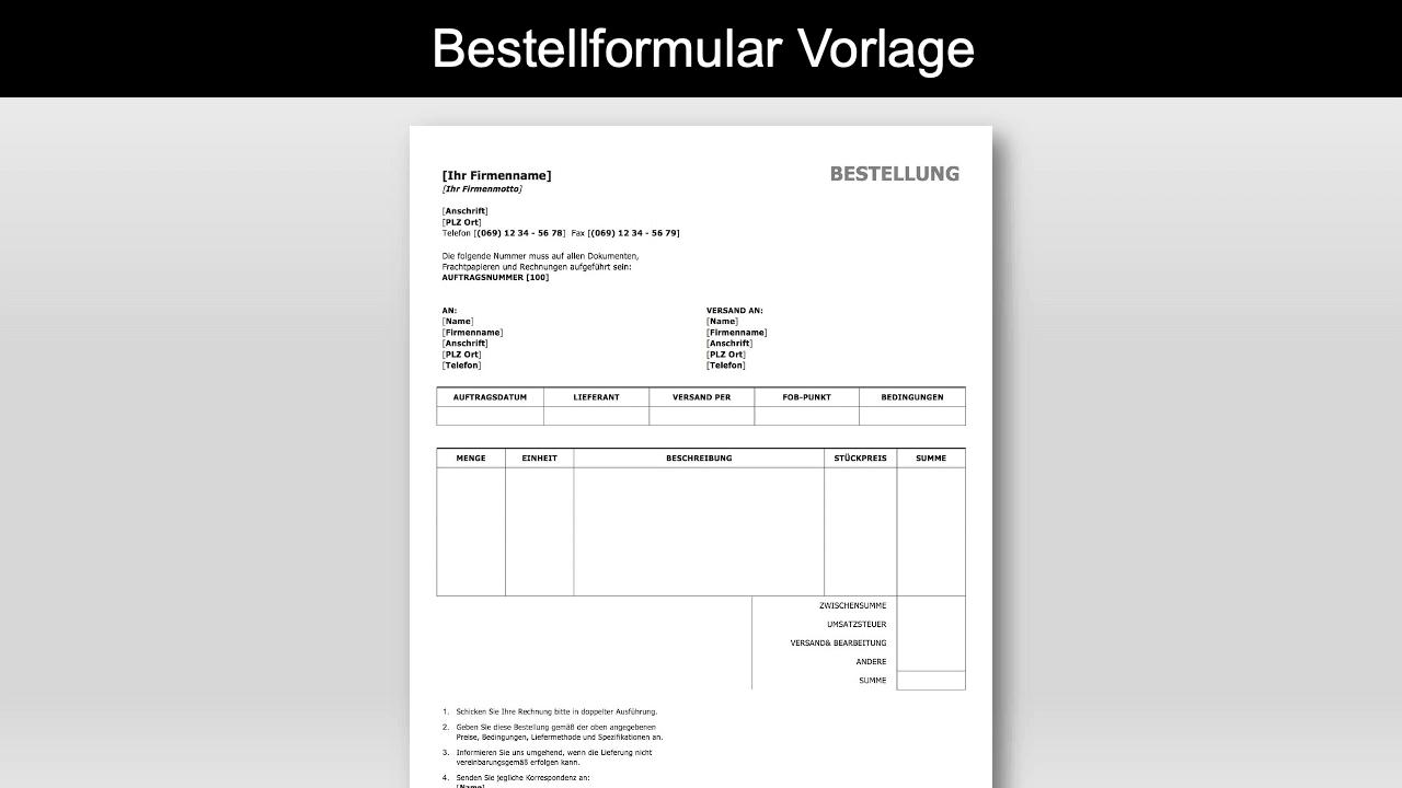 Bestellformular Vorlage