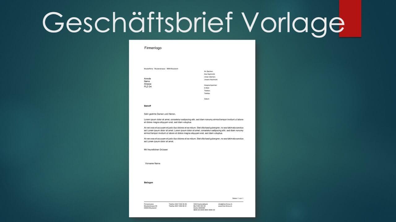 Geschäftsbrief Vorlage Kostenlos Im Word Format Schweiz