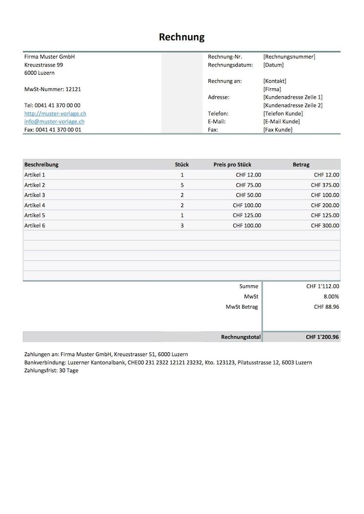 Rechnungsvorlage Schweiz Für Word Excel Kostenlos Herunterladen