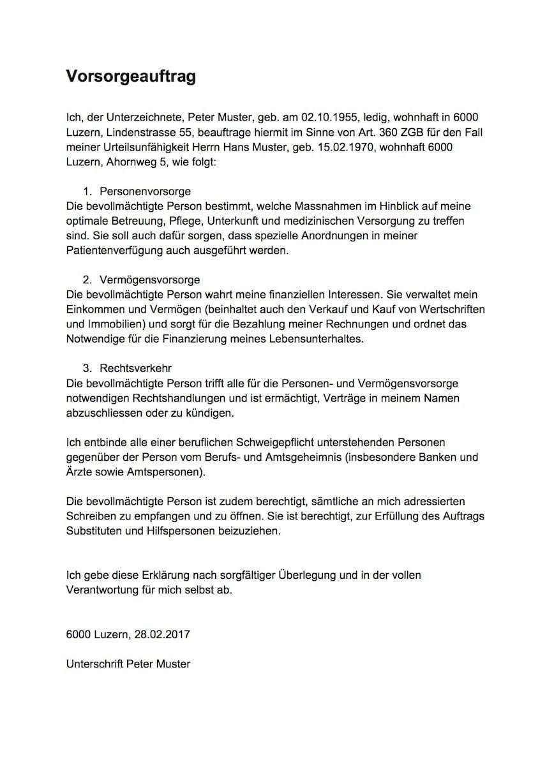 Vorsorgeauftrag Muster & Vorlage (Schweiz) – Muster-Vorlage.ch