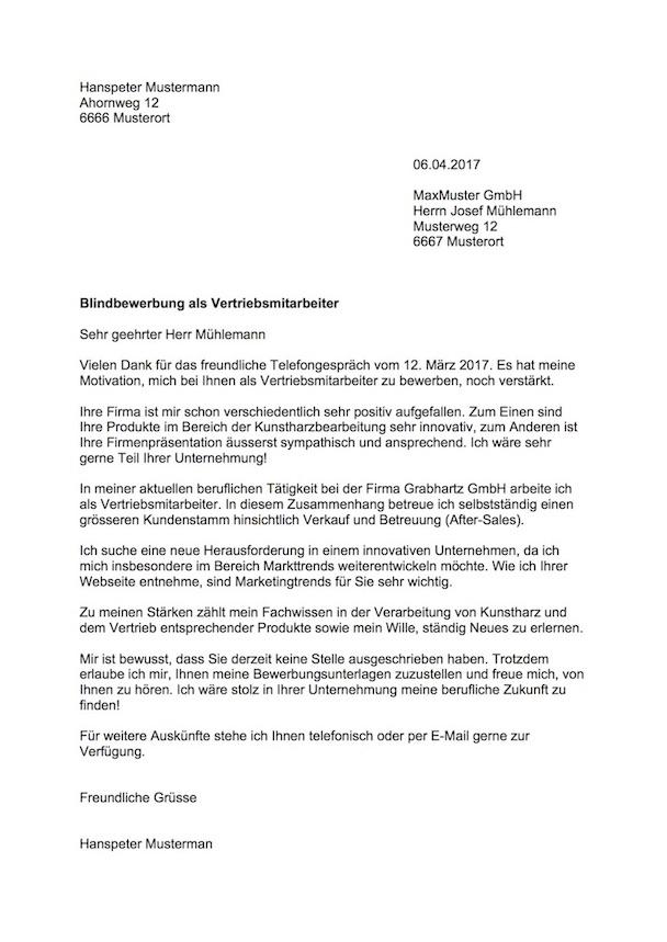 Blindbewerbung Vorlage Schweiz (kostenlos) – Muster-Vorlage.ch