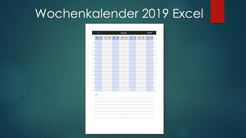 Wochenkalender 2019 Excel