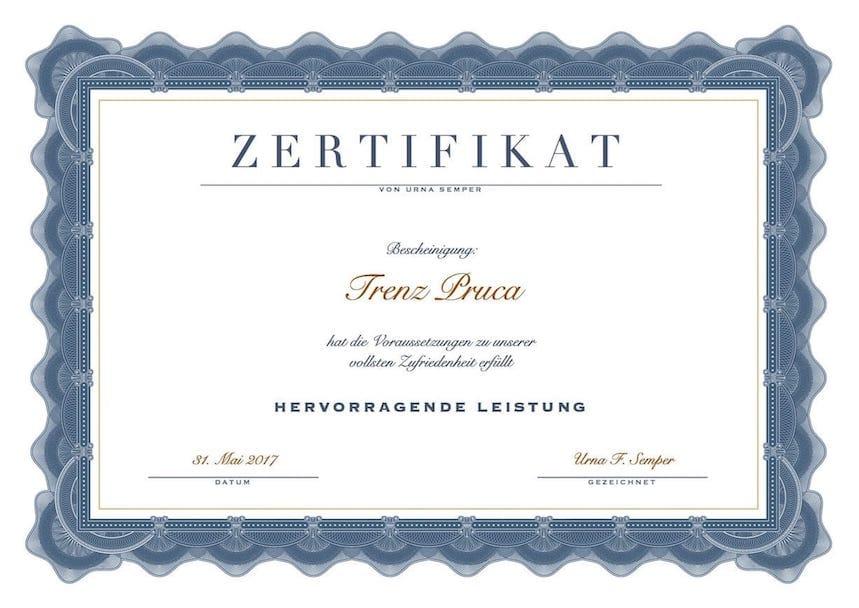 Zertifikat Vorlage kostenlos (Word-Format) – Muster-Vorlage.ch