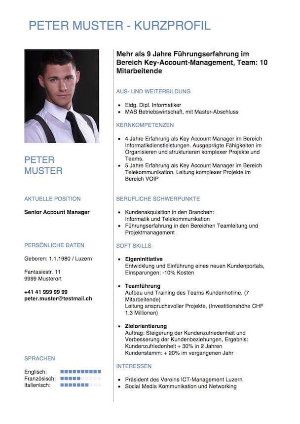 Kurzprofil Lebenslauf Vorlage – Muster Vorlage.ch