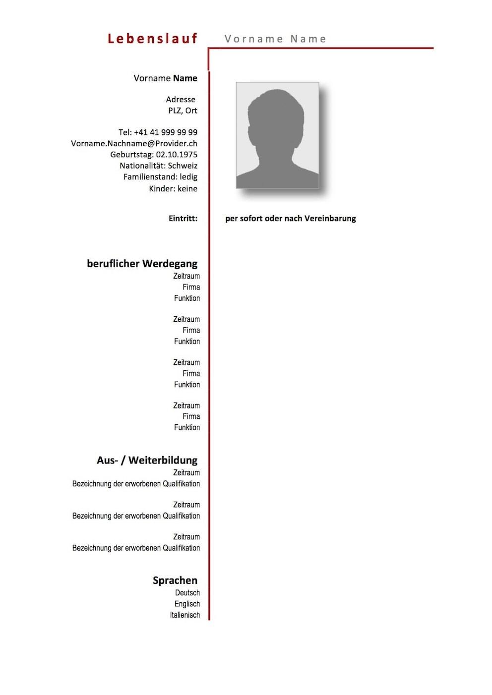 Lebenslauf Vorlage Schweiz (Word-Format)