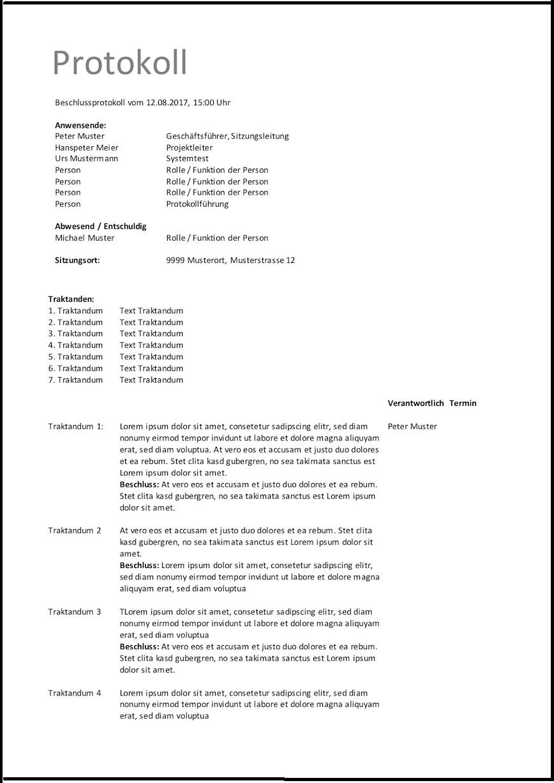 Protokoll Vorlage (Word & Excel) kostenlos – Muster-Vorlage.ch