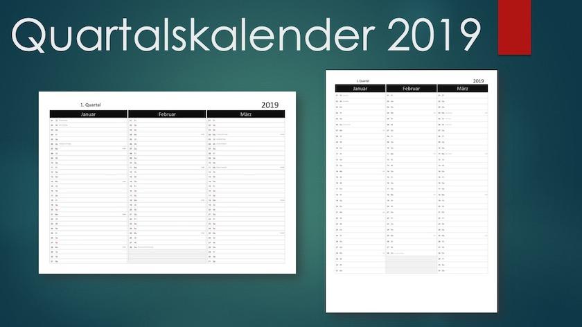 Quartalskalender 2019 Schweiz Title