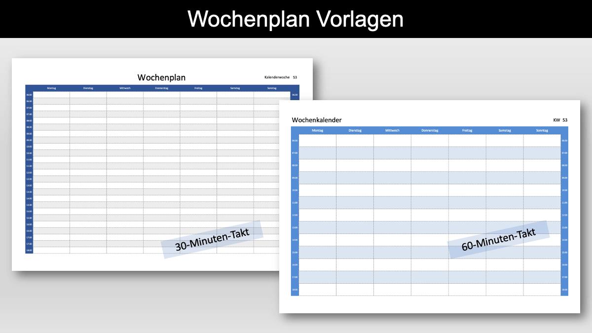 Wochenplan Vorlage Excel zum Ausdrucken