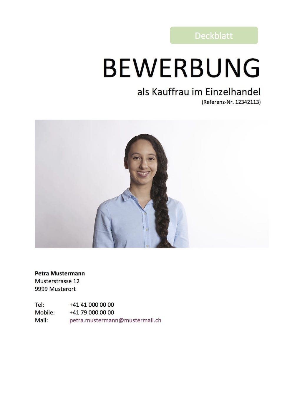 Deckblatt Für Die Bewerbung Vorlage Schweiz Muster Vorlagech