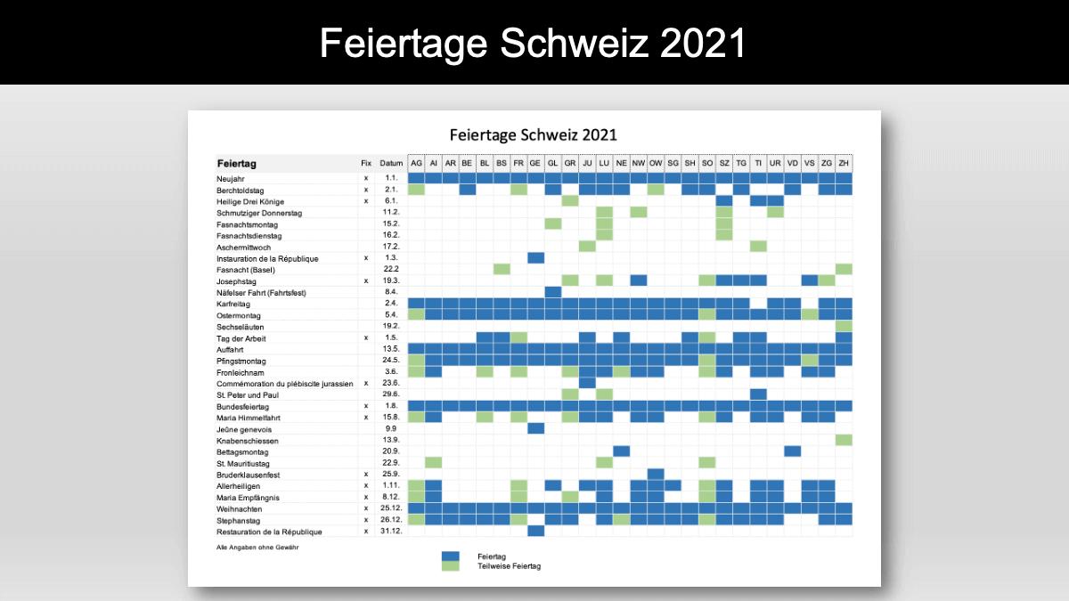 Feiertage Schweiz 2021 mit Kalender Header