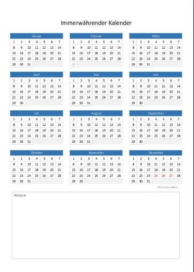 Immerwu00e4hrender Kalender : Muster und Vorlagen kostenlos