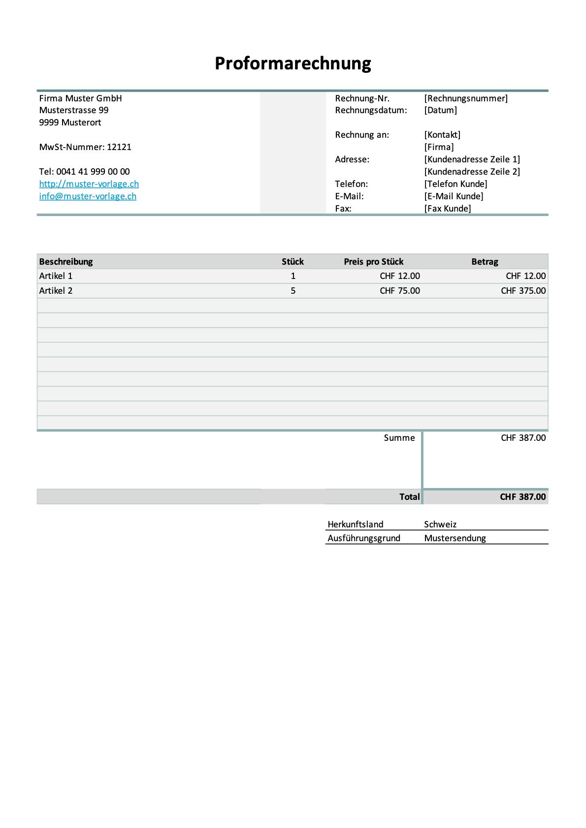 Proforma-Rechnung Vorlage Excel