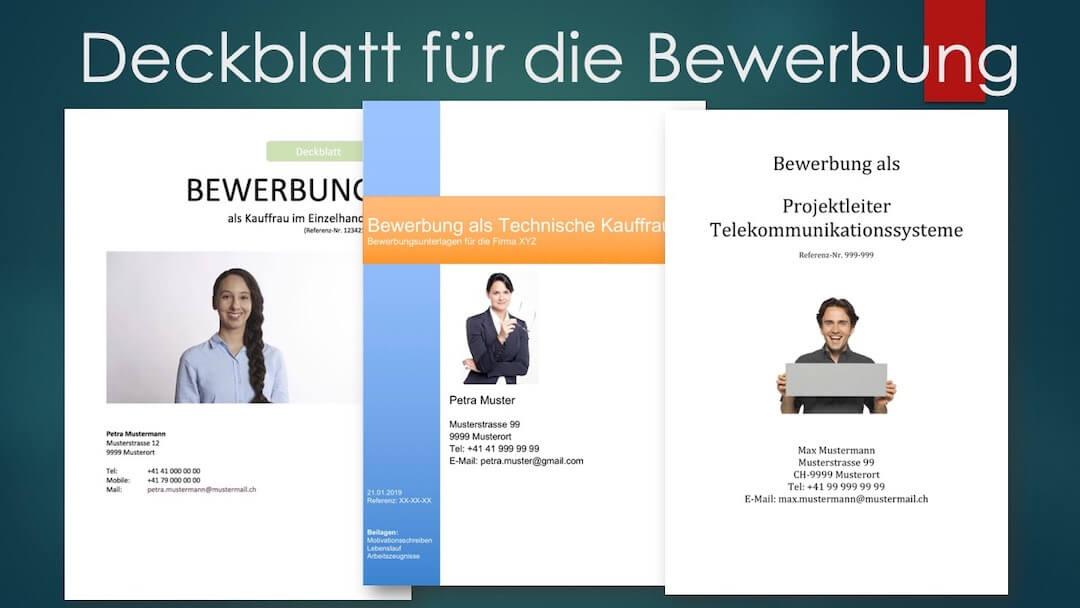 Deckblatt Vorlage Für Die Bewerbung Schweiz Muster