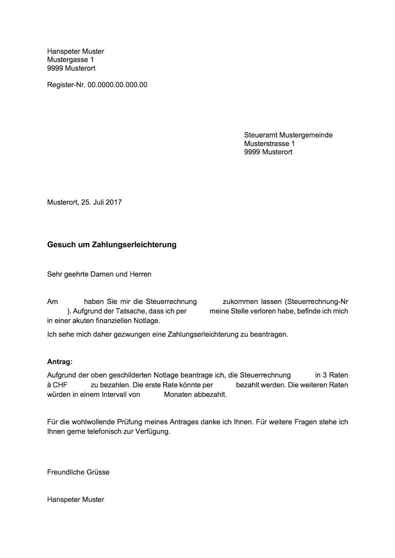 Zahlungserleichterung Vorlage – Muster-Vorlage.ch